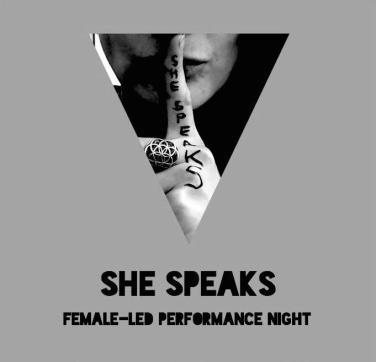 SHE SPEAKS poster b&w